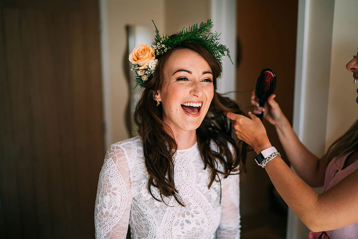 bride getting ready in the morning at North Cadbury Court