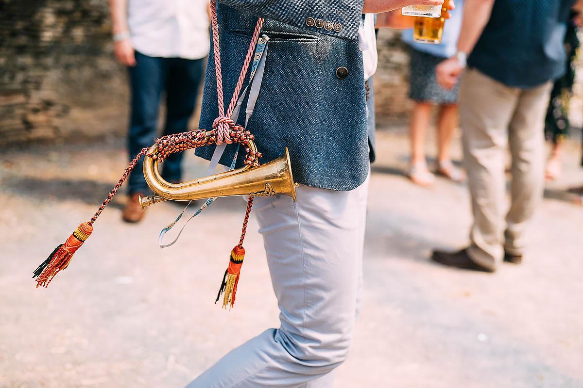 vintage horn at a wedding
