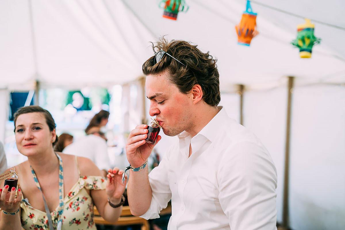 home made gin at wedding