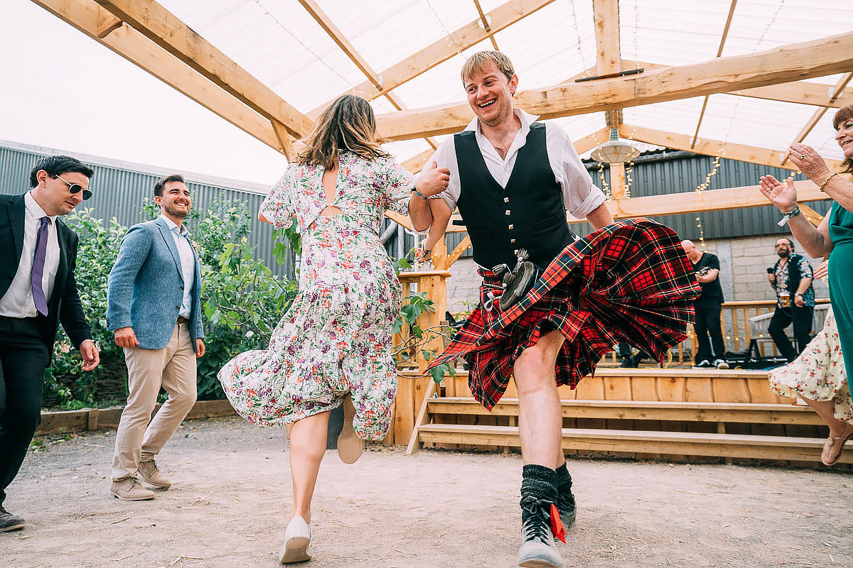 ceilidh dancing at Holford Arms wedding