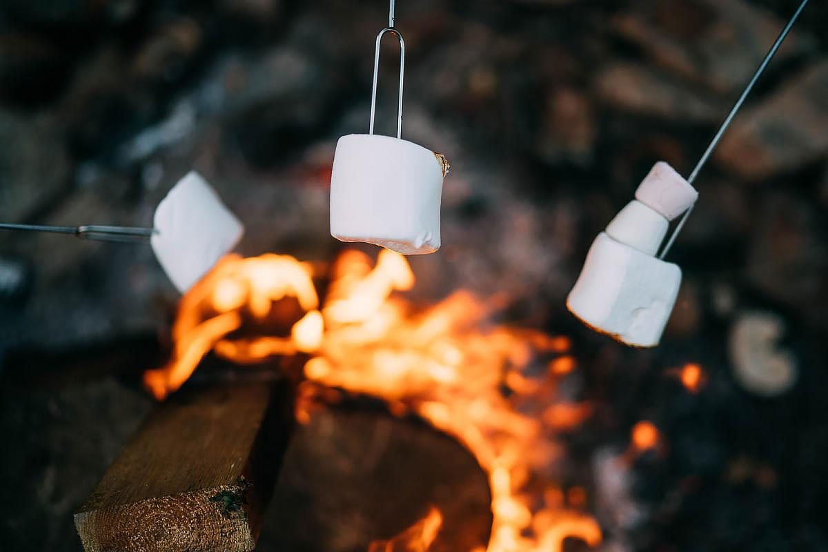eating marshmallows at a wedding