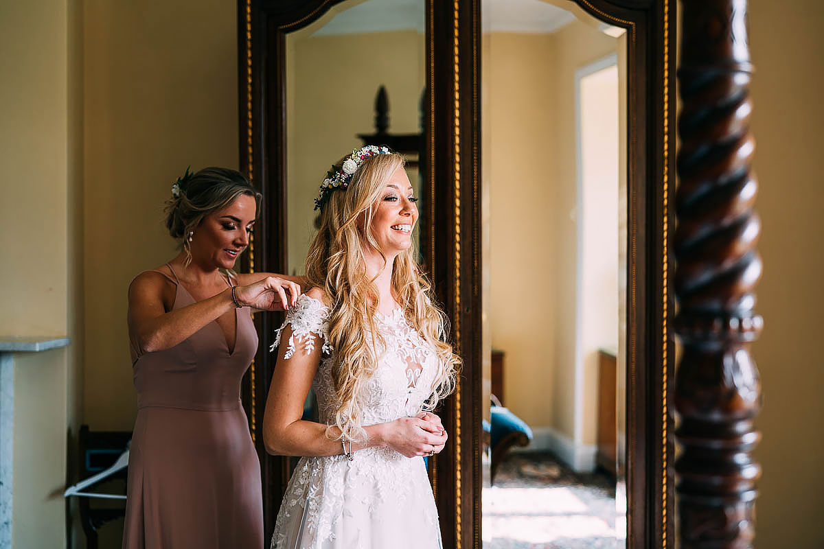 bride getting ready at Knowle Manor
