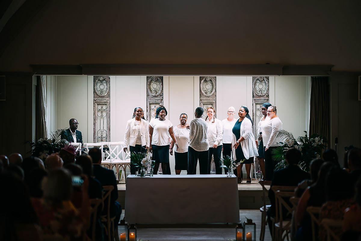gospel choir at a wedding
