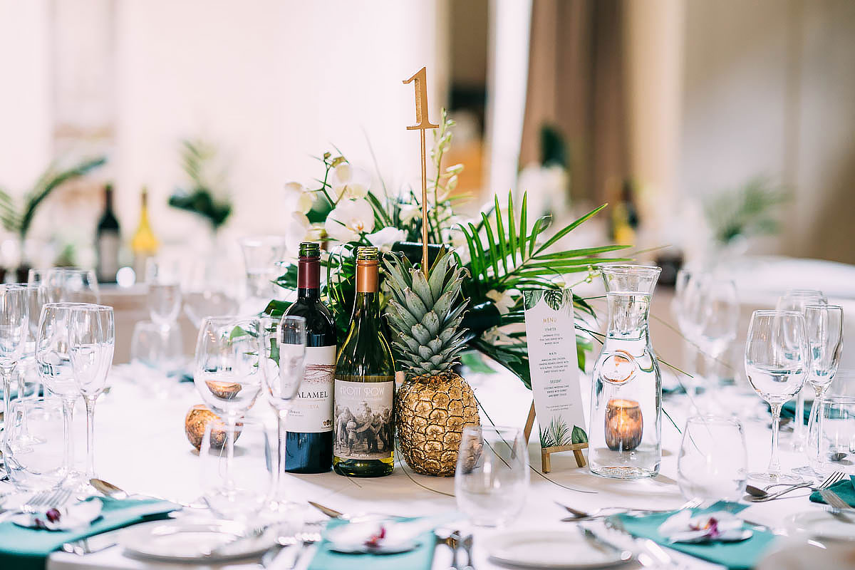 tropical wedding decorations at The Frogmill