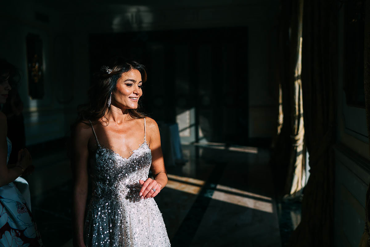 bride getting ready at Villa Miani