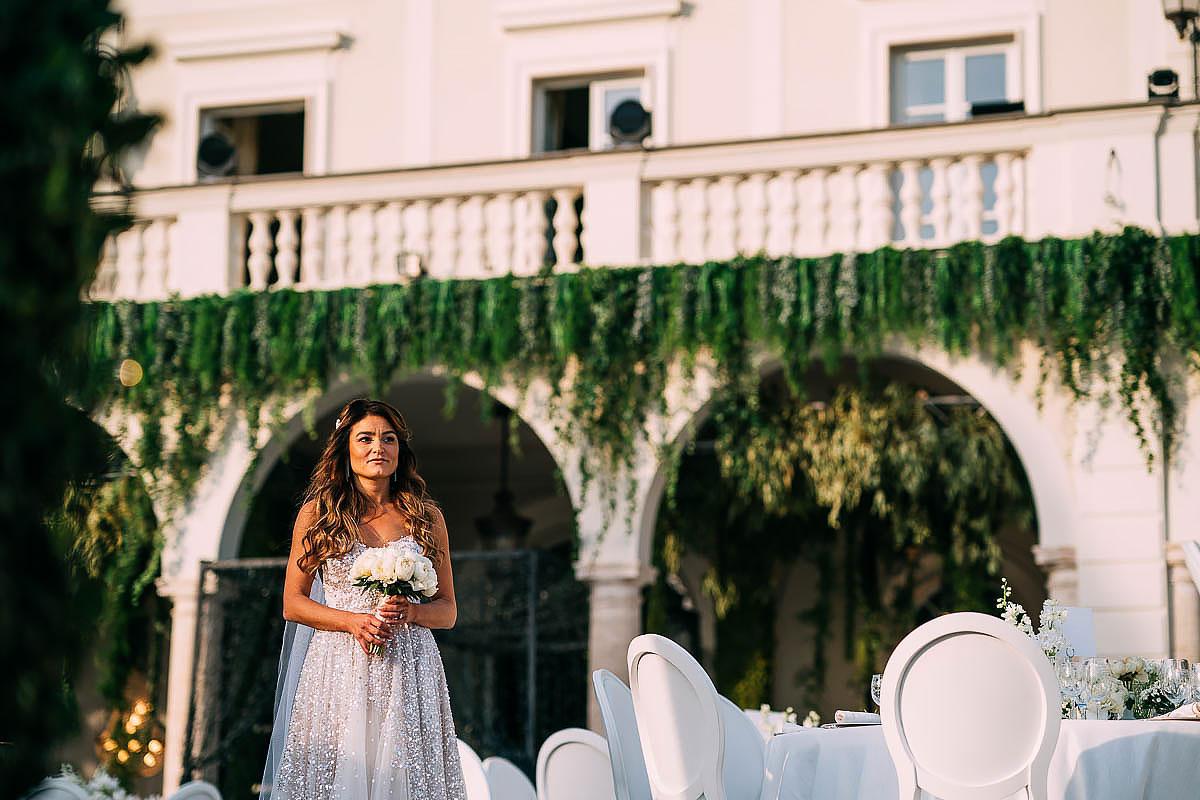 bride preparing to walk down the aisle at Villa Miani Wedding