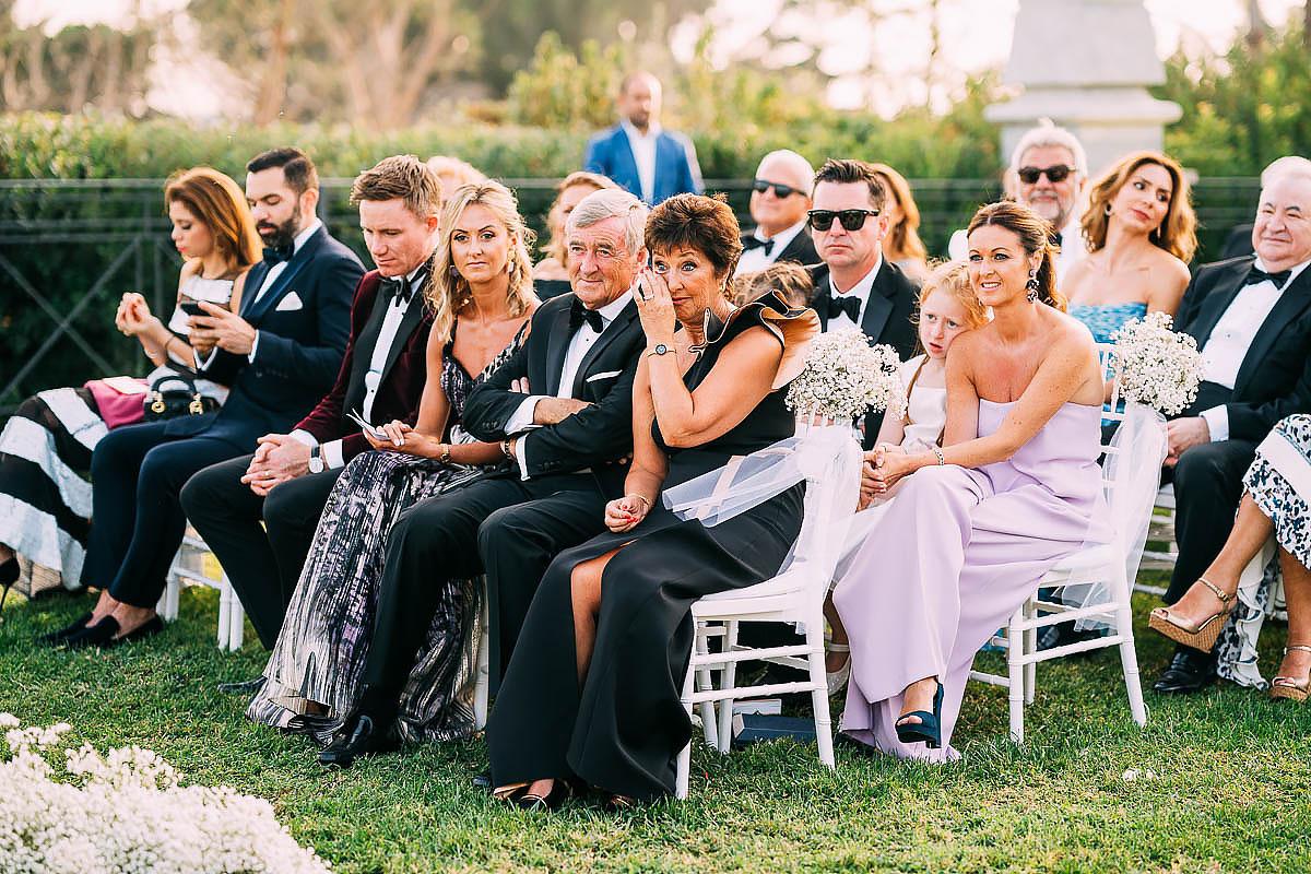 wedding guests crying at Villa Miani