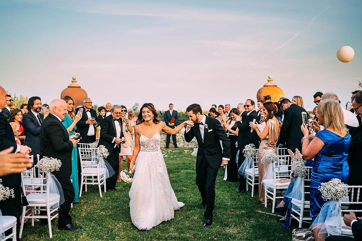 outdoor wedding ceremony at Villa Miani