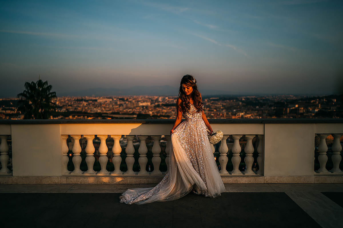Villa Miani wedding photos at sunset
