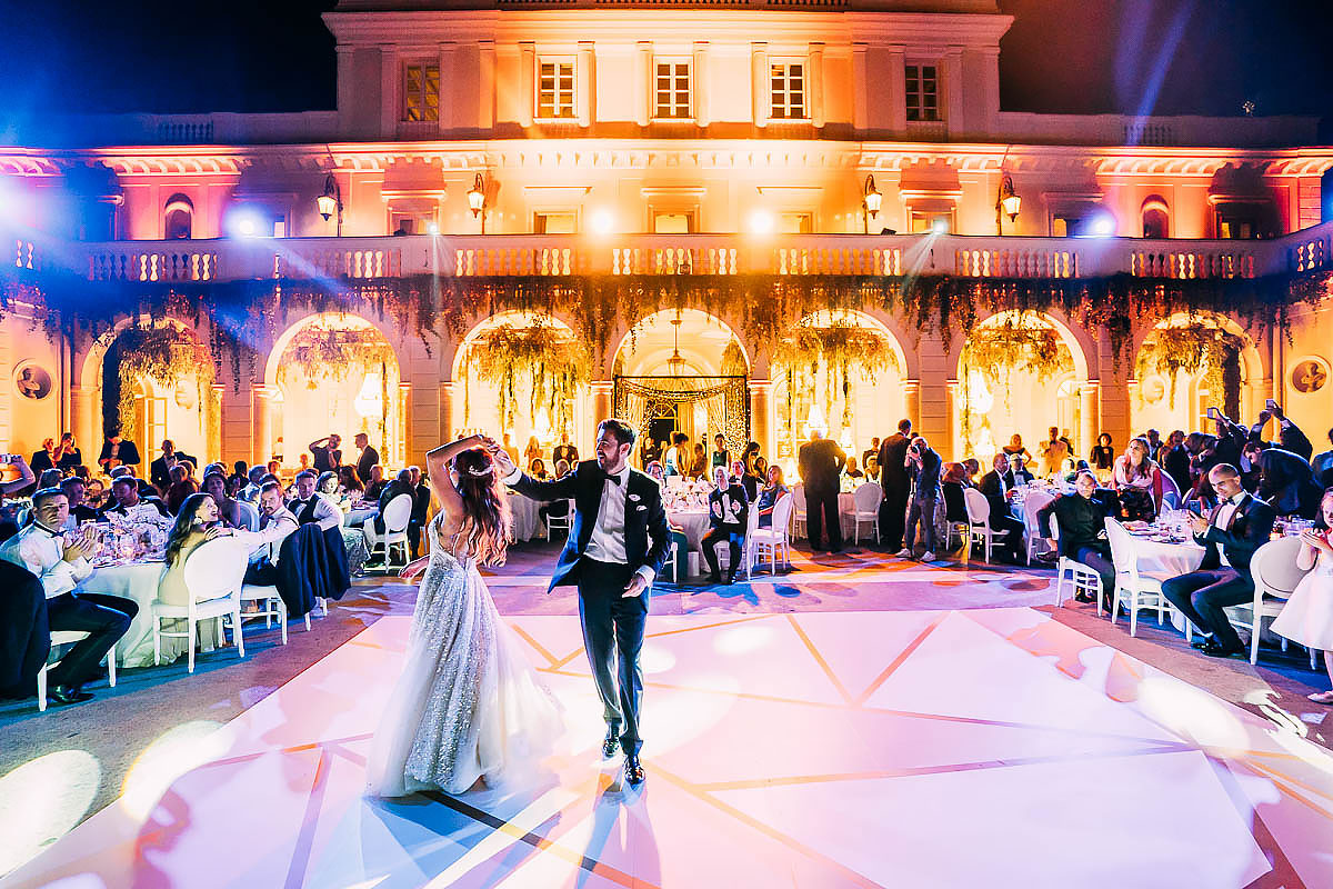 the first wedding dance at Villa Miani Wedding