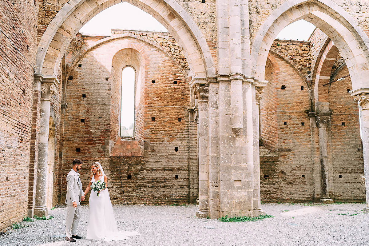 just married inside San Galgano abbey