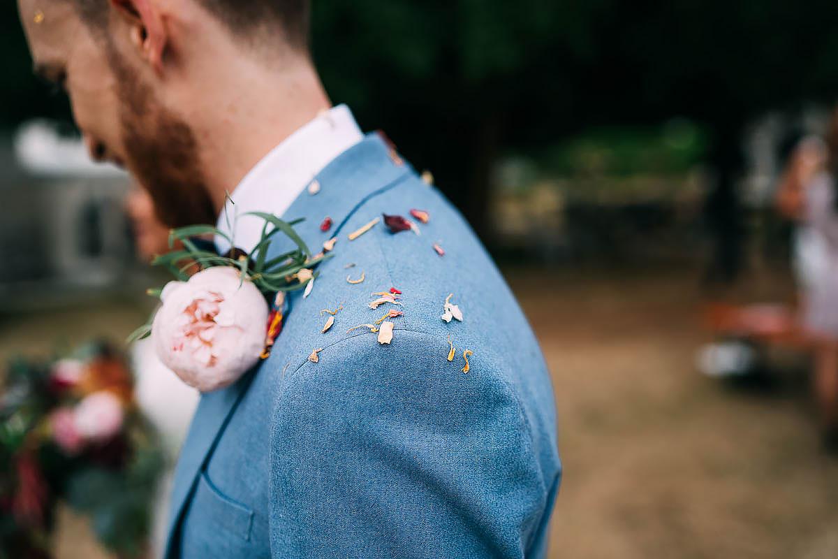 confetti on groom