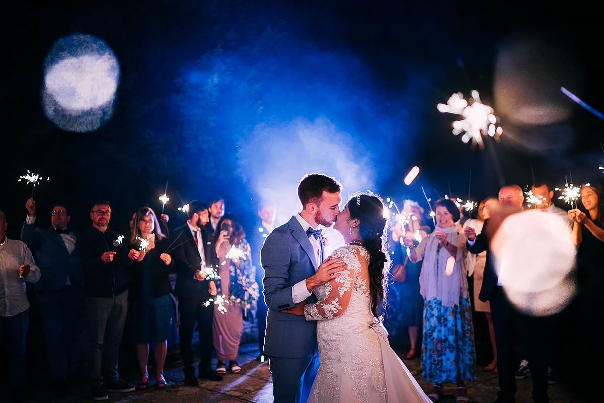 sparklers at a wedding