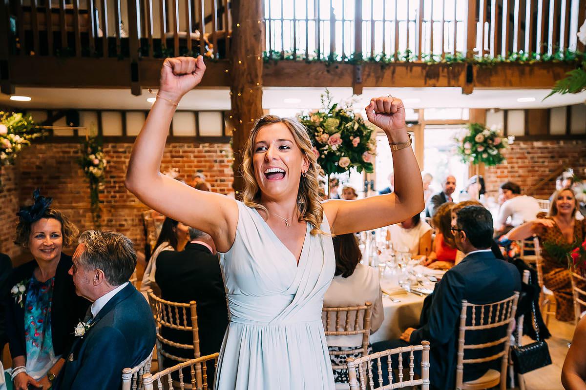 fun wedding guests laughing