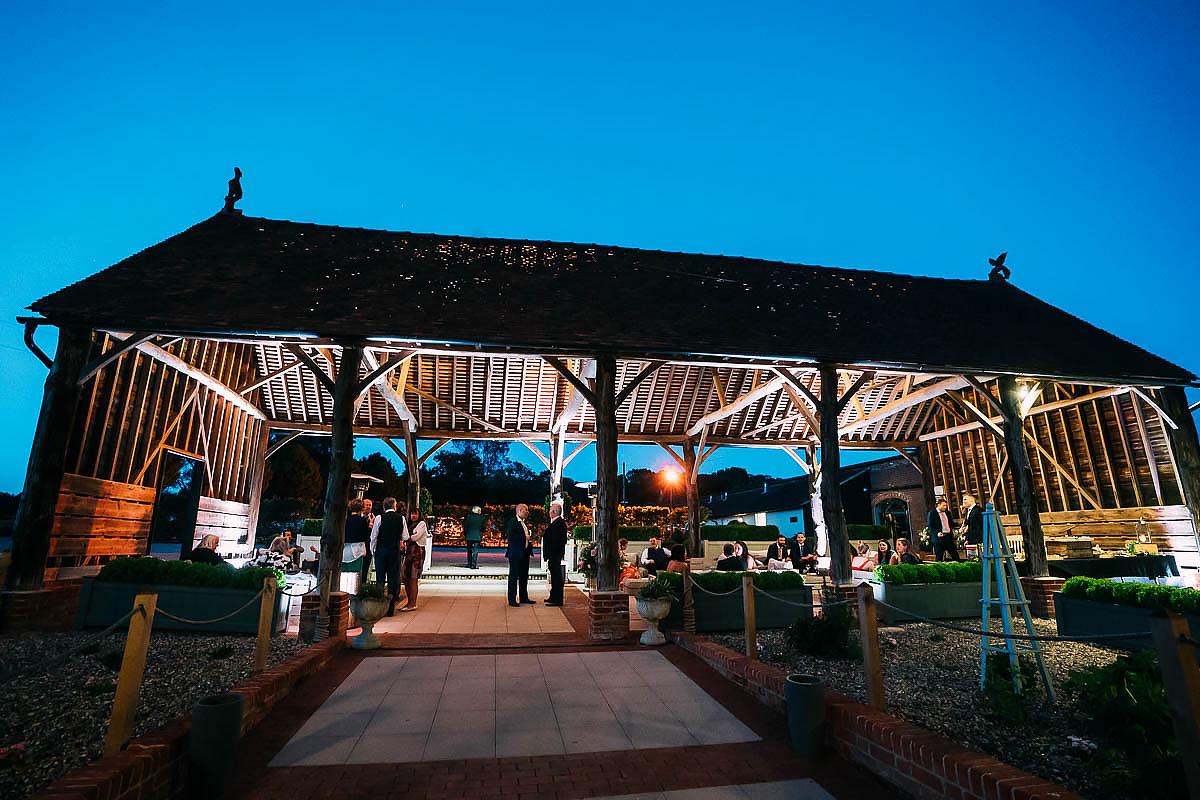 Gaynes Park wedding barn at night