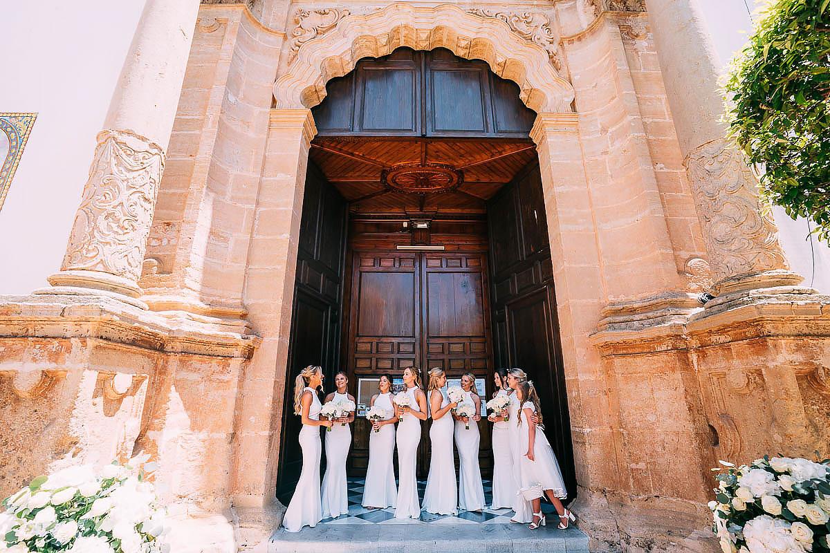 bridesmaids outside Marbella church