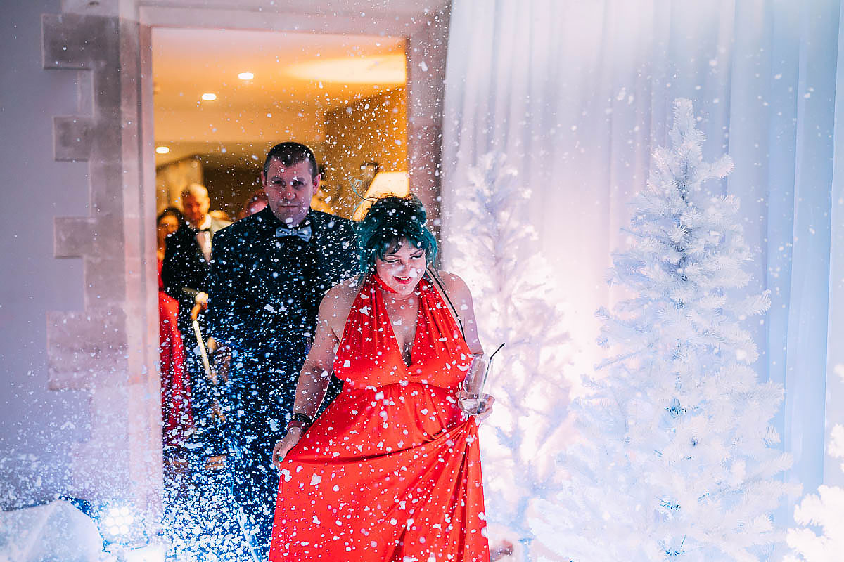 winter walkway wedding