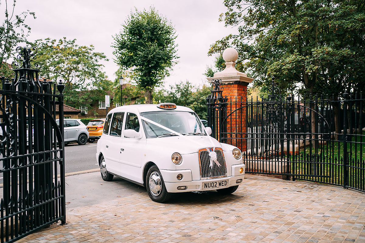 white wedding taxi in London