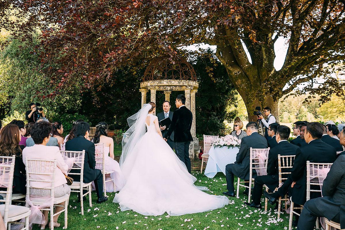 Miskin Manor outdoor wedding ceremony