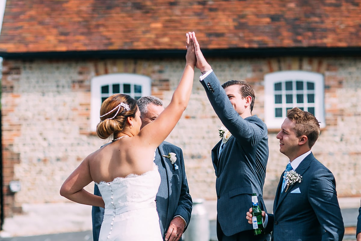 high five at a wedding