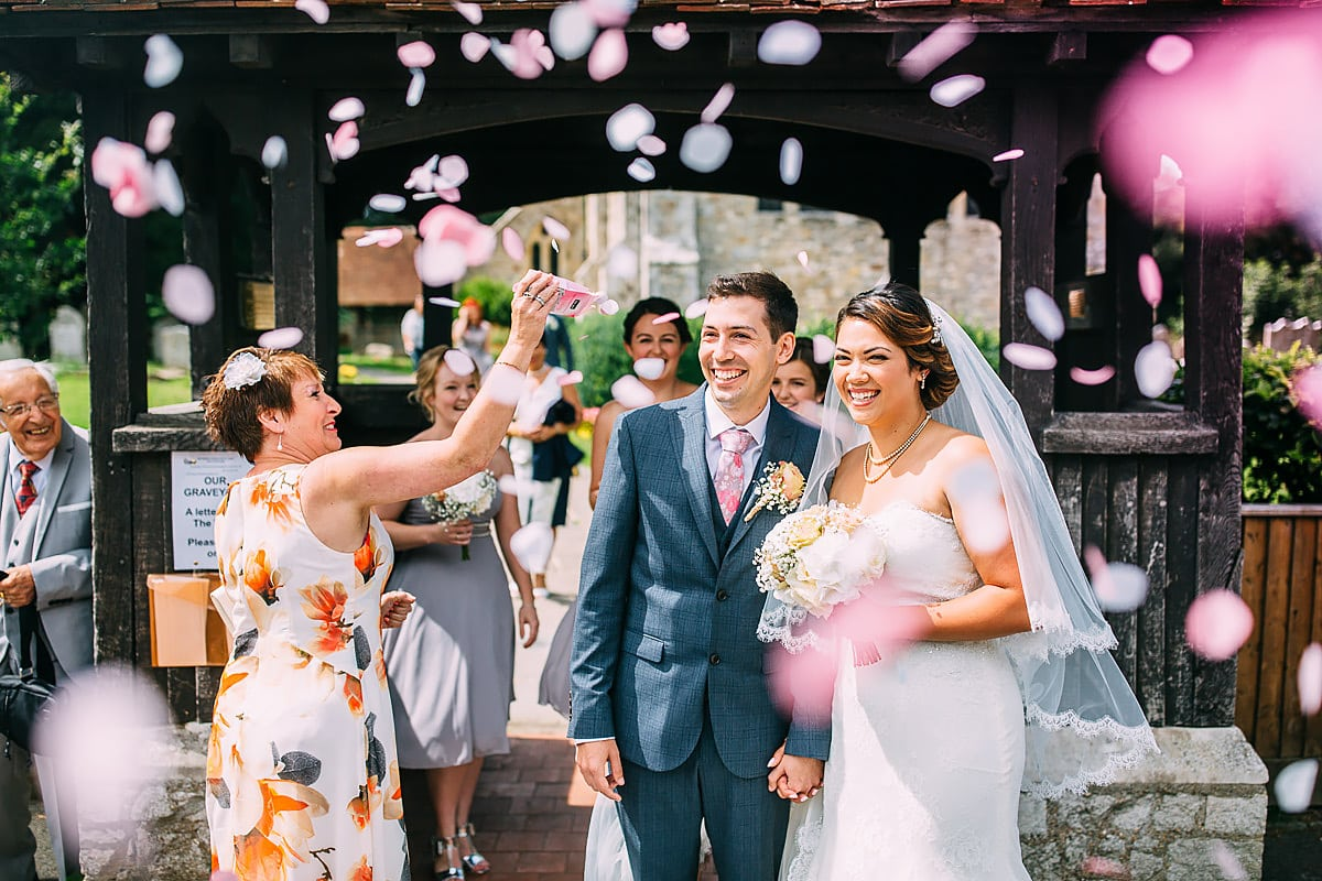 confetti at Southend Barns Wedding