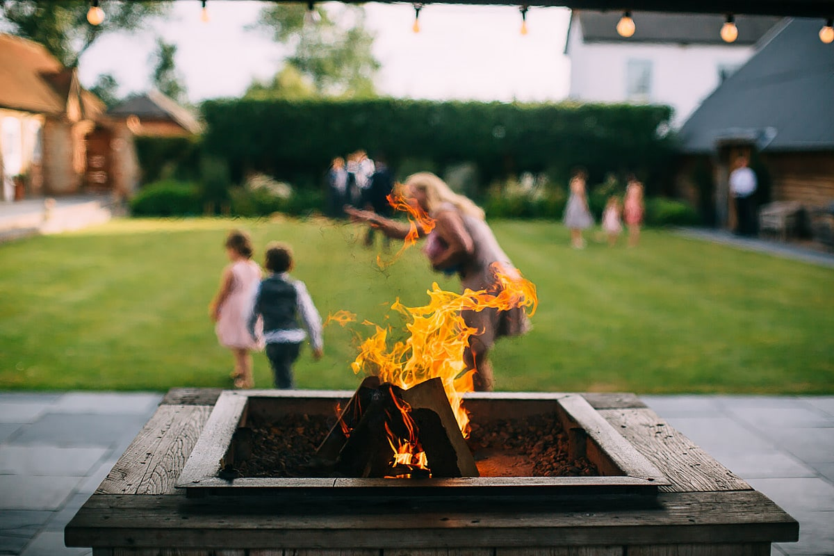 fire pit at Southend Barns Wedding