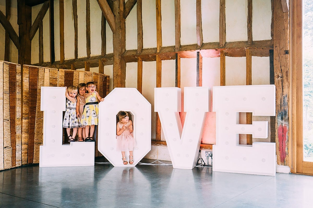 love sign at wedding