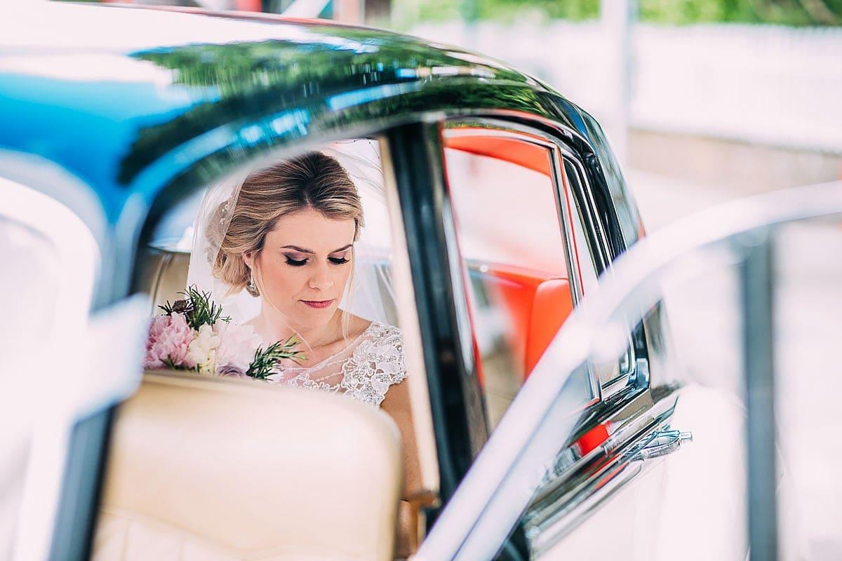 bride in wedding car London