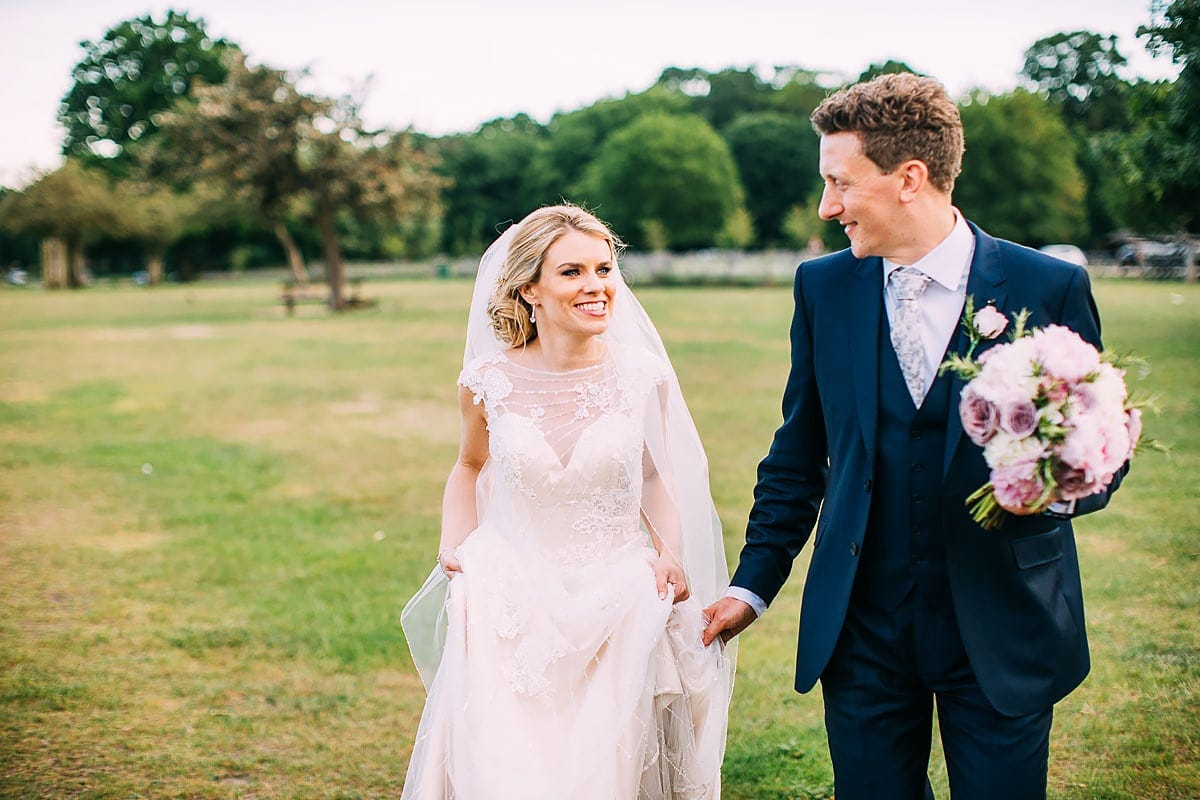 bride and groom in Richmond park