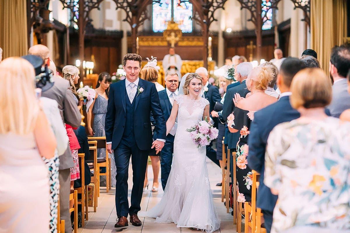 aisle of St Matthias Church Richmond wedding