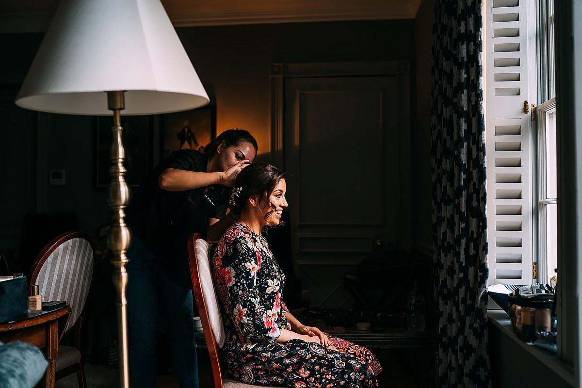 bride getting ready for jewish wedding
