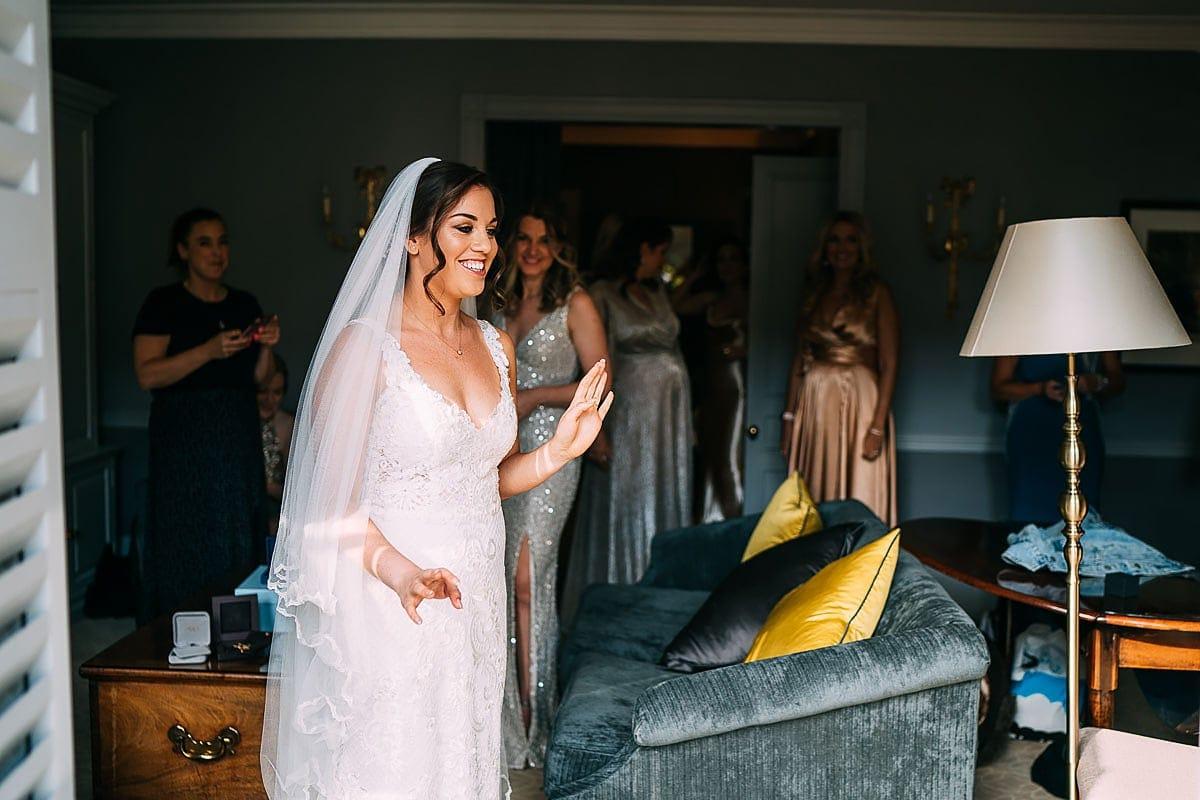 bride getting ready in bath