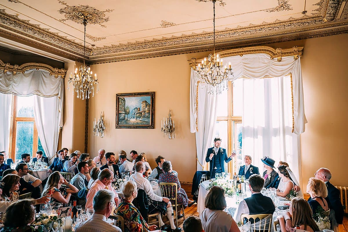 wedding speeches inside Orchardleigh House