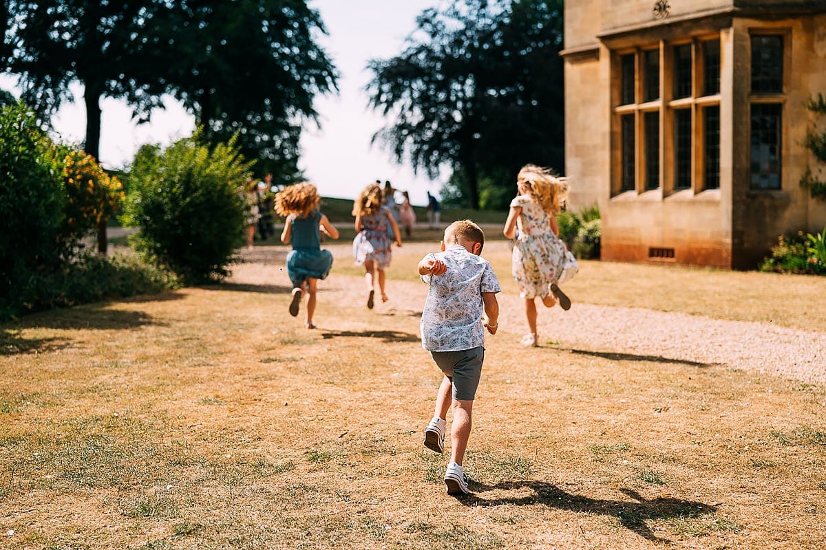 children playing at coombe lodge wedding