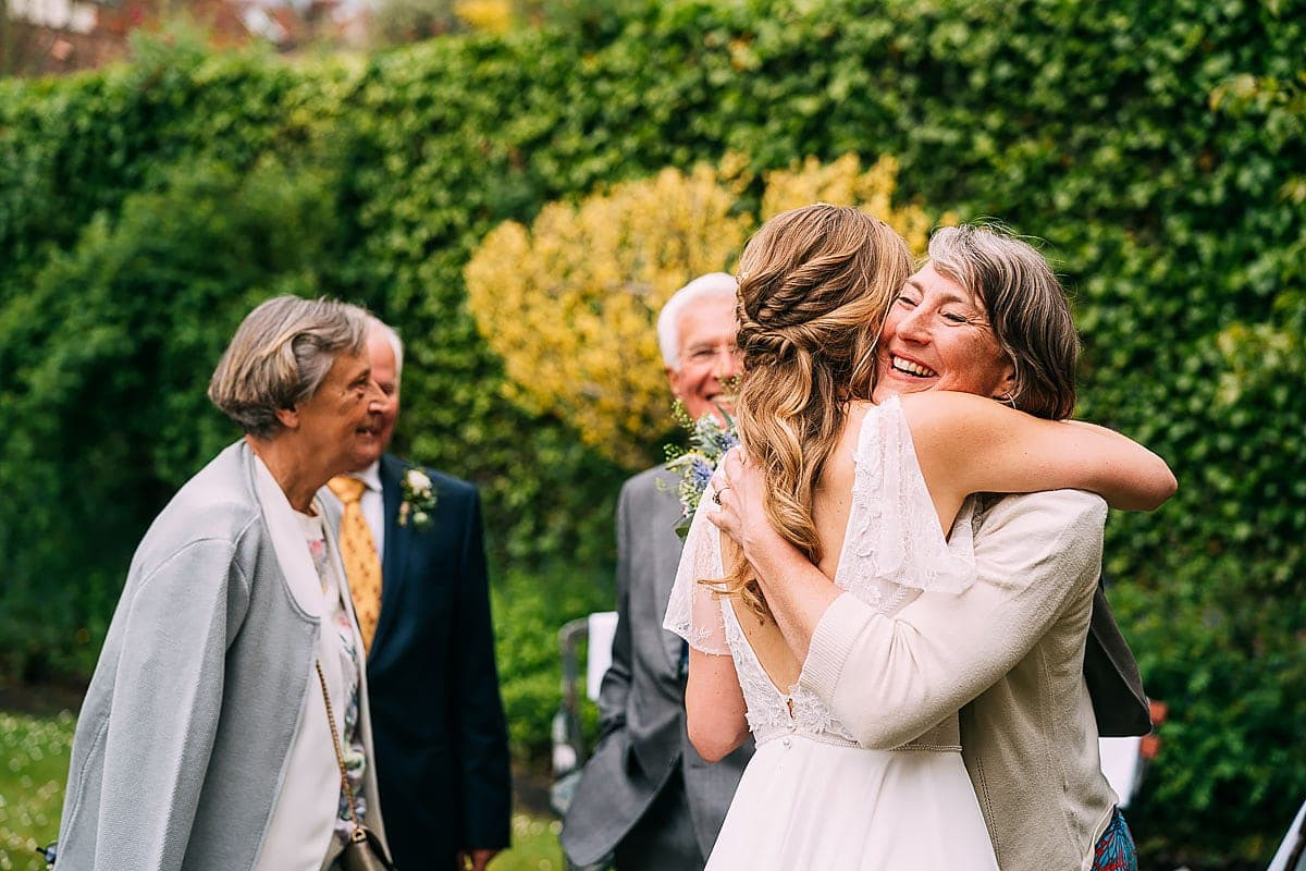 hugs at wedding
