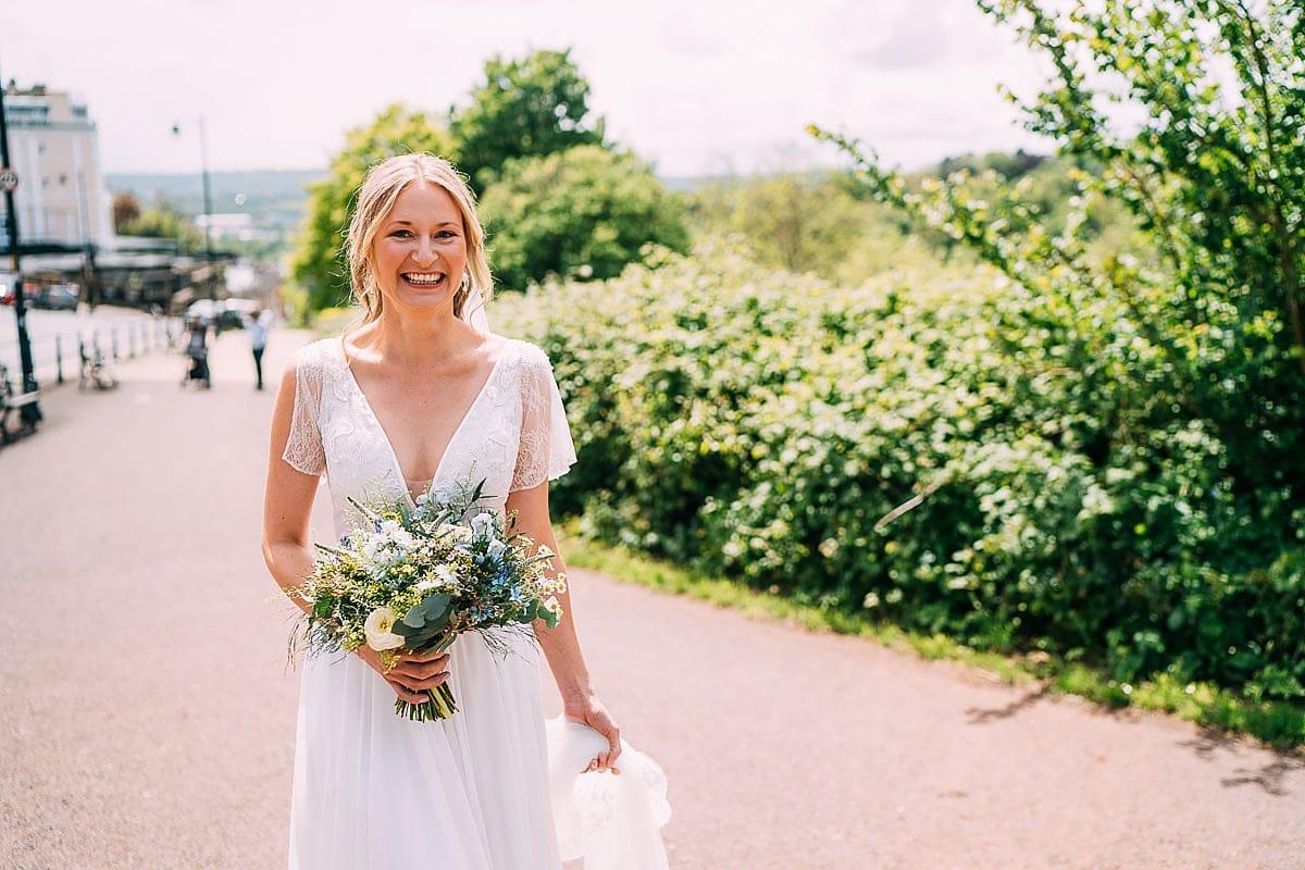 bride walking through Clifton